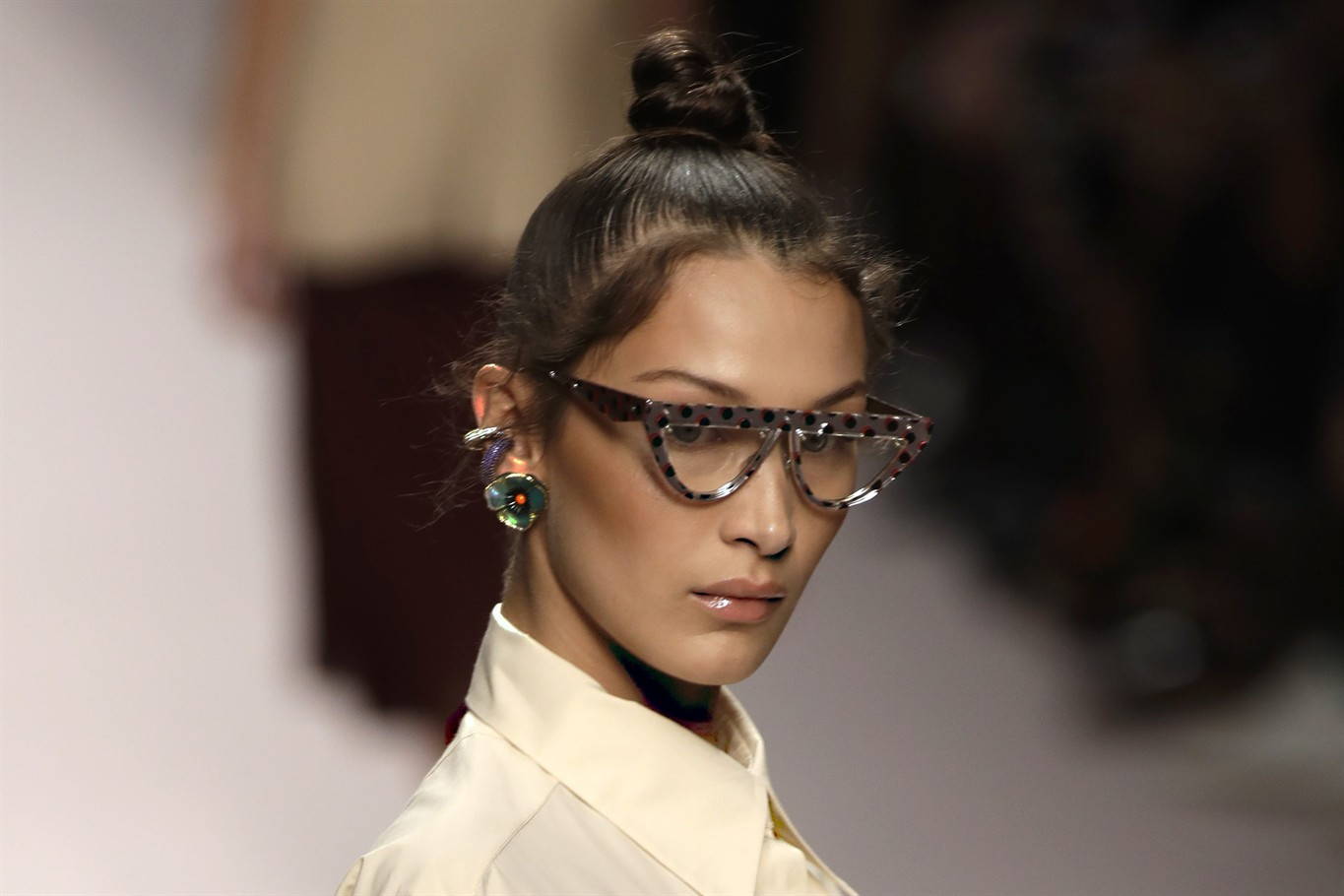 c1c11eca85a Model Bella Hadid wears a creation as part of the Fendi women s 2019 Spring-Summer  collection, unveiled during the Fashion Week in Milan, Italy, Thursday, ...